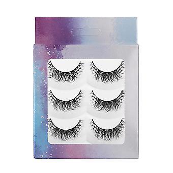 3 Pairs Fluffy False Eyelashes, Handmade Soft Cross False Eyelashes Nature Fluffy Long Soft Reusable