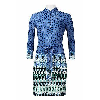 Collared Long Sleeve Tie Waist Multi Print Jersey Dress