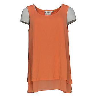 Linea door Louis Dell'Olio Women's Top Mixed Media Swing Orange A306341