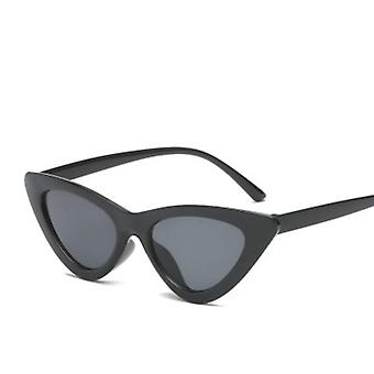 Cute Sexy Retro Cat Eye Sunglasses, Small Black Transparent/pink Triangle