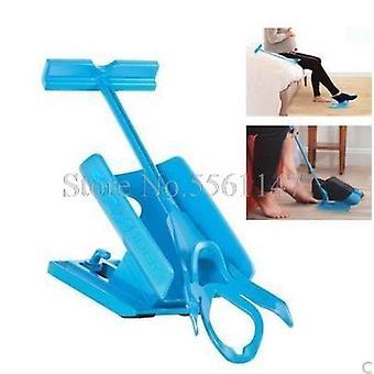 Sock Slider Aid Blue Helper Kit aiuta a mettere i calzini fuori senza corno da scarpa pieghevole