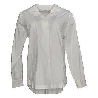 Martha Stewart Women's Top Collared Long Sleeve V Neck White A353589