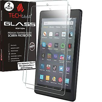 """Techgear 2 pack glass edition fits all new amazon fire 7"""" tablet (2019 release / 9th generation) - g"""