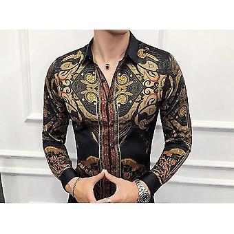 Slim Fit svart guld skjorta