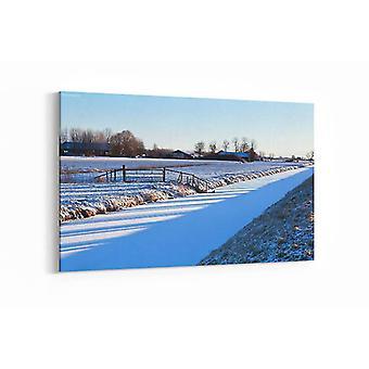 Schilderij - Boomschaduwen op velden in de winter, Groningen — 90x60cm