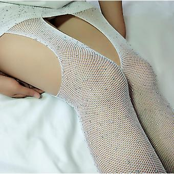 New Sexy Fishnet Large Mesh Net Stockings Shiny Diamond Rhinestone Thigh Club