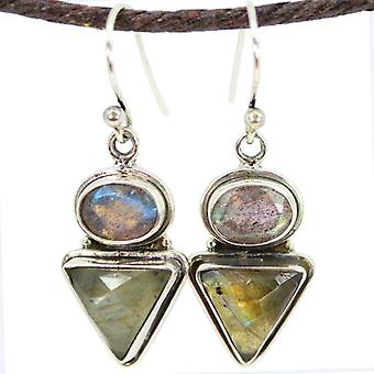 Tribal Style Trillion And Oval Cut Labradorite Earrings