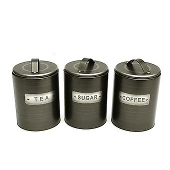Brushed Tin Tea/Coffee/Sugar Canisters
