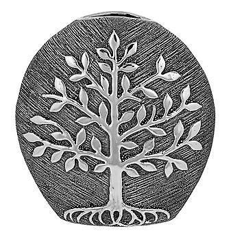 Tree of Life Round Vase Gunmetal
