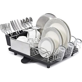 Kingrack Dish Drainer, Stainless Steel Dish Rack, Dish Drying Rack with Anti-Rust Frame, Optional 2