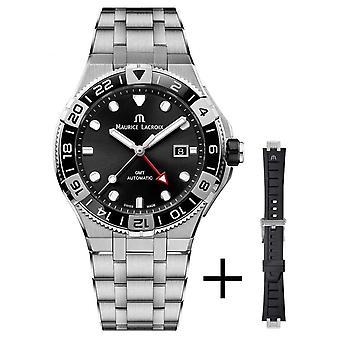 Maurice Lacroix Aikon Venturer GMT 43mm | Riem set | Zwarte wijzerplaat | Roestvrijstalen band | AI6158-SS00F-330-A Horloge