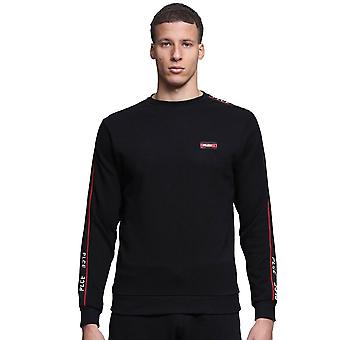 Police Woody 7523 Tape Logo Trim Crew Sweat Top - Black