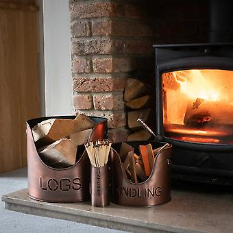 Hill Interiors Three Piece Fire Wood Bucket Set
