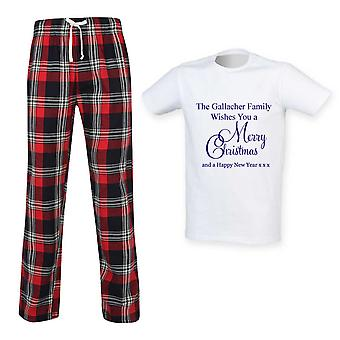 Miesten henkilökohtainen hyvää joulua Tartan Trouser Pyjama Setti