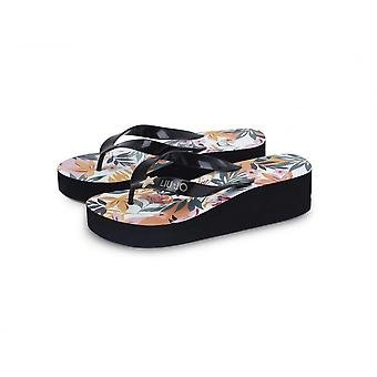 High Slipper Flip Flops Woman Liu Jo Beach Tropical Black Ds21lj27 Va1134 E0396