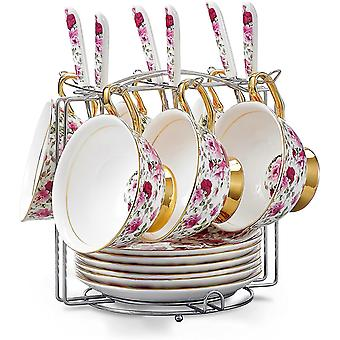 DZK Cups & Saucers Sets with Spoons and Mug Holder, Spring Floral Patterned Bone China 19-Pieces