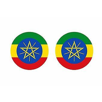 2x stick klistermärke rund cocarde etiopisk flagga etiopisk