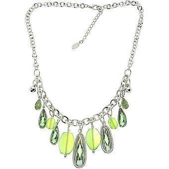 Verhalten Krze Halskette Silber farbig mit schnen grnen Anhngern - Elegante Halskette fr Jede