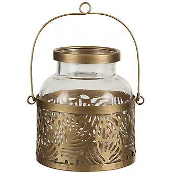 فانوس 17 × 17.5 سم من الذهب الصلب / الزجاج