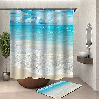 安静的海滩淋浴窗帘