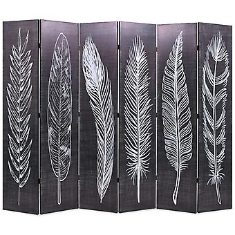 vidaXL room divider foldable 228 x 170 cm feathers black and white