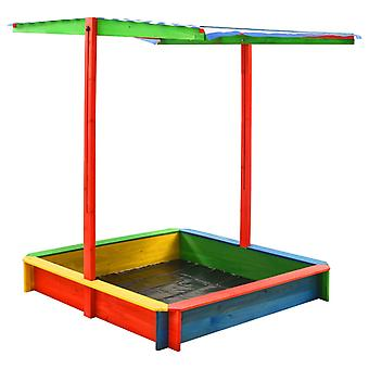 vidaXL sandbox with adjustable roof fir wood Colorful UV50