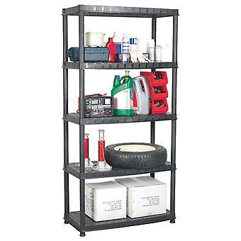 vidaXL étagère de stockage 5-animal noir 91,5x45,7x185 cm plastique