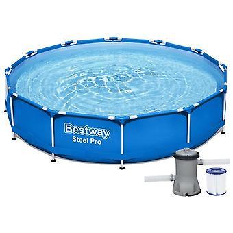 Bestway Steel Pro pool 366 x 76 cm med pumpe – Blå – Rund infinity-pool