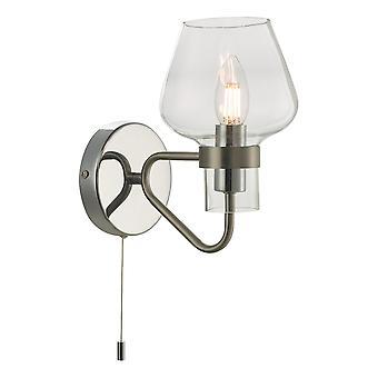 Ścienna lampa satynowa chromowana i polerowany chrom, 1x E14