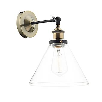 DAR RAY Dome Wand Licht Antik Messing klar, 1x E27