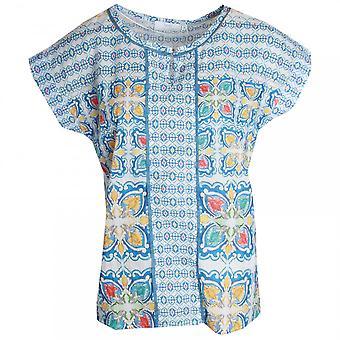 Just White Short Sleeve Blue Printed T-shirt