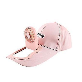 Růžová venkovní kempovací cestovní čepice s usb nabíjecím ventilátorem x4056