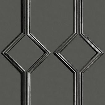 Azzurra Panel Charcoal Wallpaper