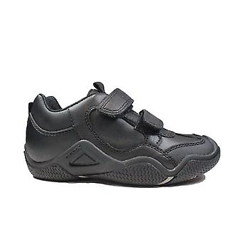 Geox Wader J8430A musta nahka pojat rip teippi koulun kengät
