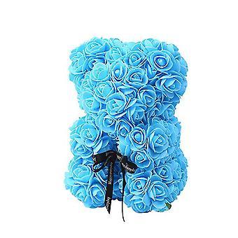 Valentinstag Geschenk 25 cm Rose Bär Geburtstagsgeschenk£¬ Memory Day Geschenk Teddybär(Blau)