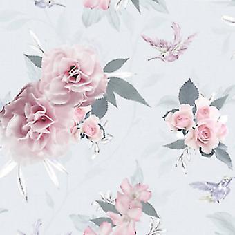 Fresco Pink Flower Wallpaper