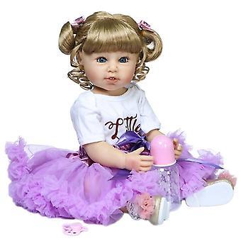 55Cm bebe baba újjászületett kisgyermek kislány baba lila ruhában teljes test puha szilikon fürdő játék születésnapi ajándék gyerekeknek