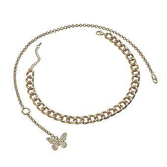 Kvinder halskæde overdrevet sommerfugl flerlags legering kraveben kæde sweater kæde til udstilling