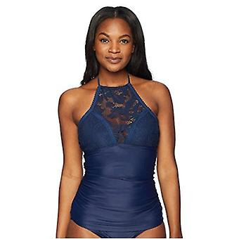 Brand - Coastal Blue Women's Swimwear Crochet Halter Neck Tankini Top