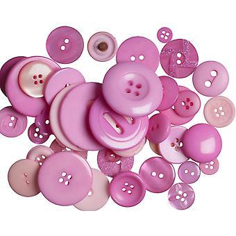 SISTE FÅ - 60g assorterte mørke rosa knapper for håndverk | Sy scrapbooking kort making