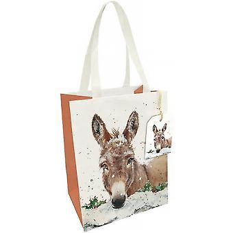 ÚLTIMOS POCOS - Bolsa grande de regalo de papel - Burro de Navidad - 33x26x14cm