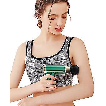 Fascia Gun Lihasten rentoutus Hierontalaite Fitness Sähköisku Ase Värähtely Rentoutuminen (Vihreä)