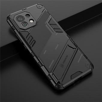 BIBERCAS Xiaomi Mi 11 Lite Case with Kickstand - Shockproof Armor Case Cover TPU Black