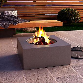 60CM Firepit Patio Square Wood Burning Fire Pit Bowl avec BBQ Grill, Poker, Couvercle