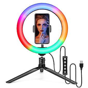 Selfie Flash Dimmable 10 RGB 12&apos' LED Ring Light Tripod Stand Suporte de telefone e bolsa