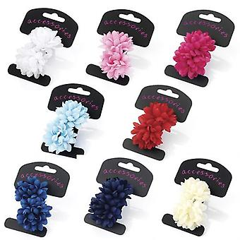 Two Piece Flower Ponio Hair Set 5cm Various Colours
