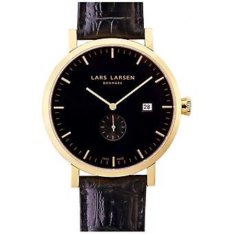 LLarsen (Lars Larsen Black Genuine Leather) 131GBL Men's Watch