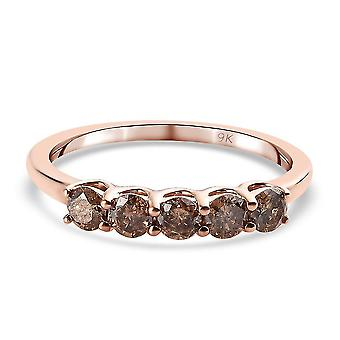 TJC Champagne Diamond I3 Five Stone Ring 9K Rose Gold SGL Certified 0.5ct(T)