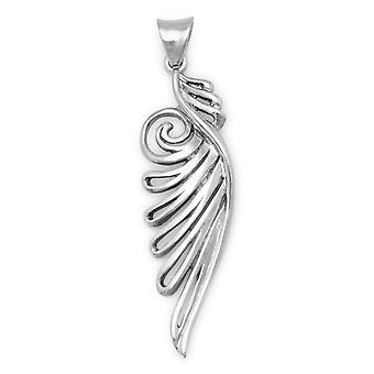 Oxidierte 925 Sterling Silber verziert Engel Flügel Anhänger Maßnahmen 49mm X 12,5 mm Charme