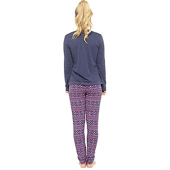 Tom Franks Ladies Fantasy Magic Fairisle Print Long Pyjama Set - Pink - X-Large (20-22)